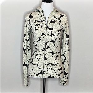 Lucy Athletic gathered Rose Print hoodie- Size:S